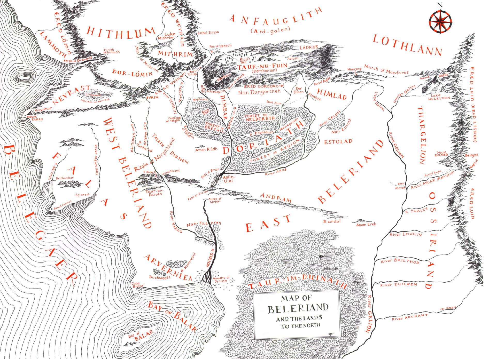 Map of Beleriand during the First Age - J.R.R. Tolkien