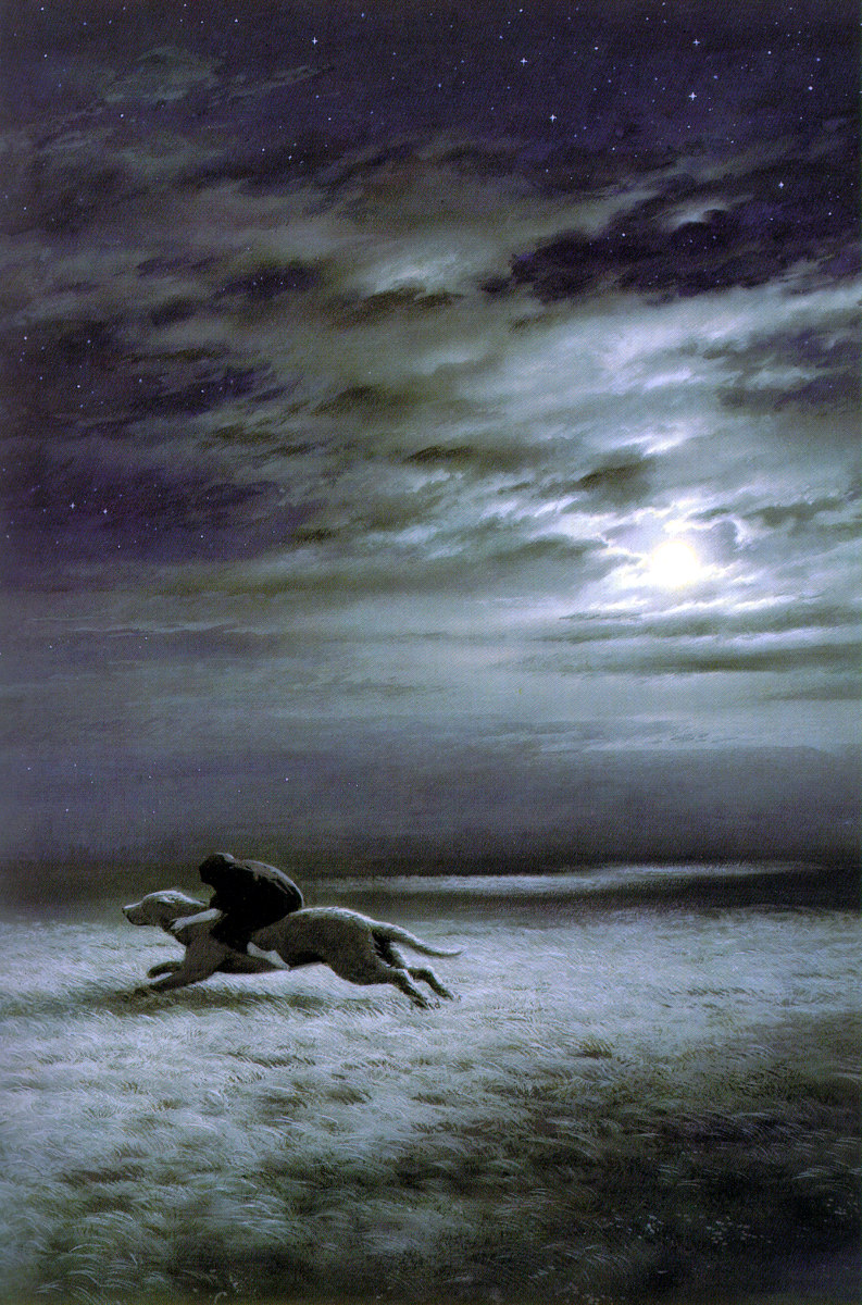 Luthien Escapes upon Huan - Ted Nasmith