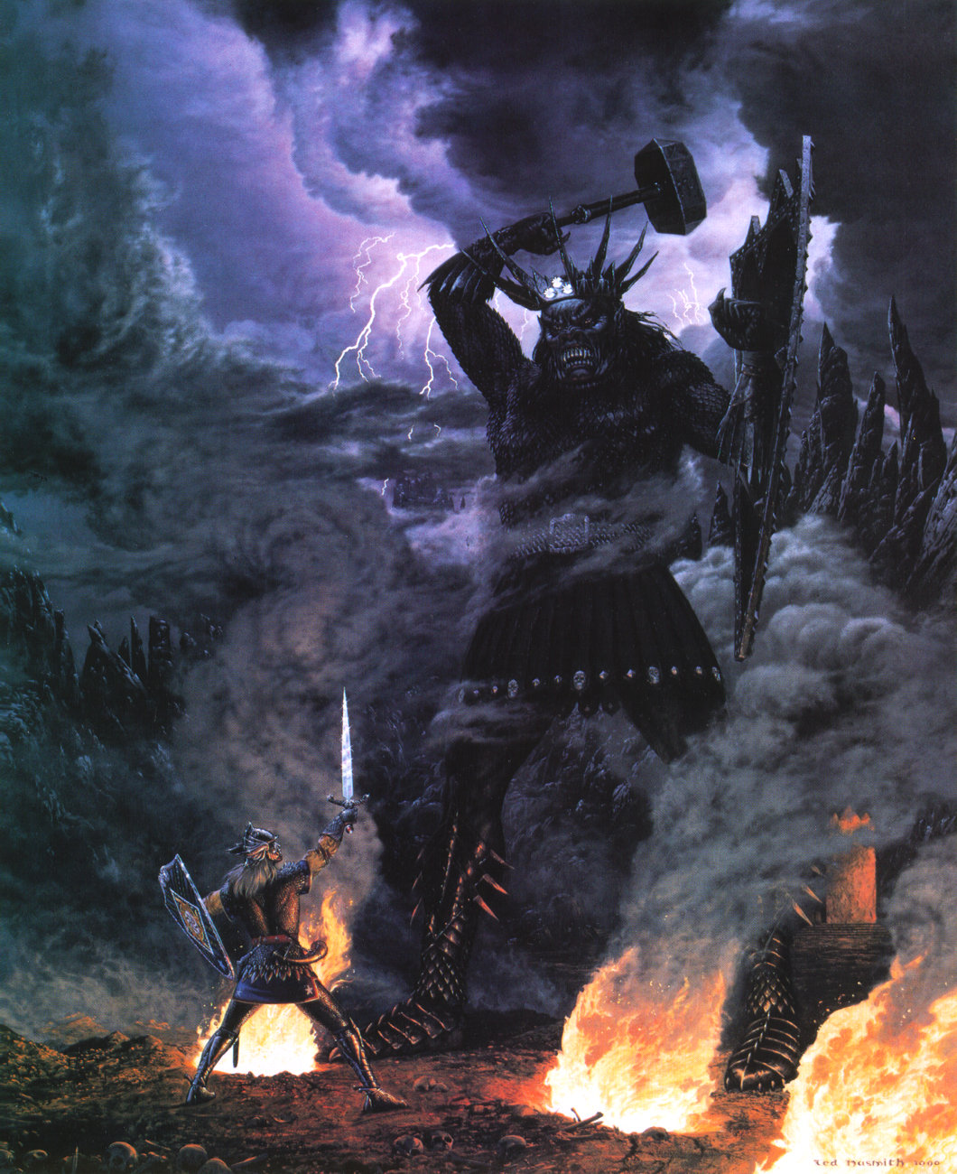 Morgoth fights Fingolfin, High King of the Noldor - Ted Nasmith