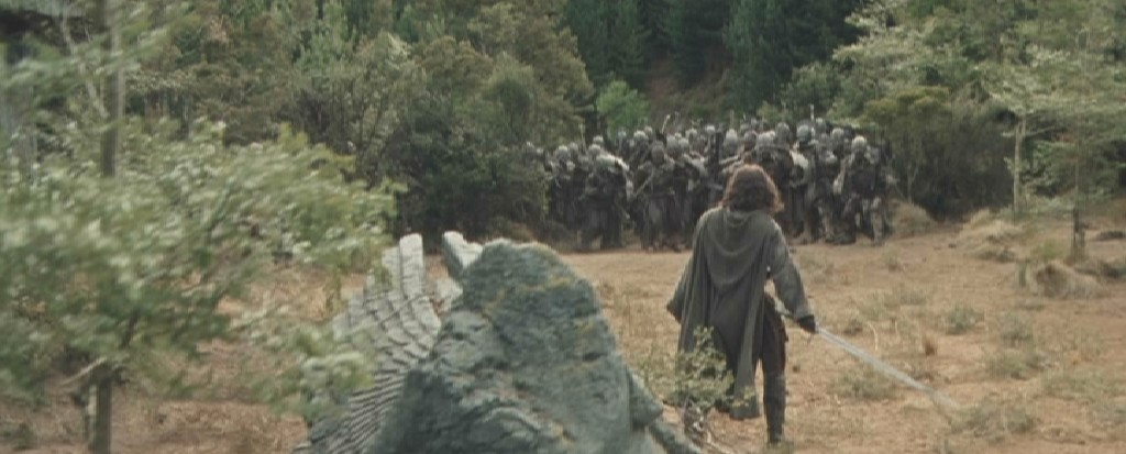 Aragorn facing the Uruk-Hai