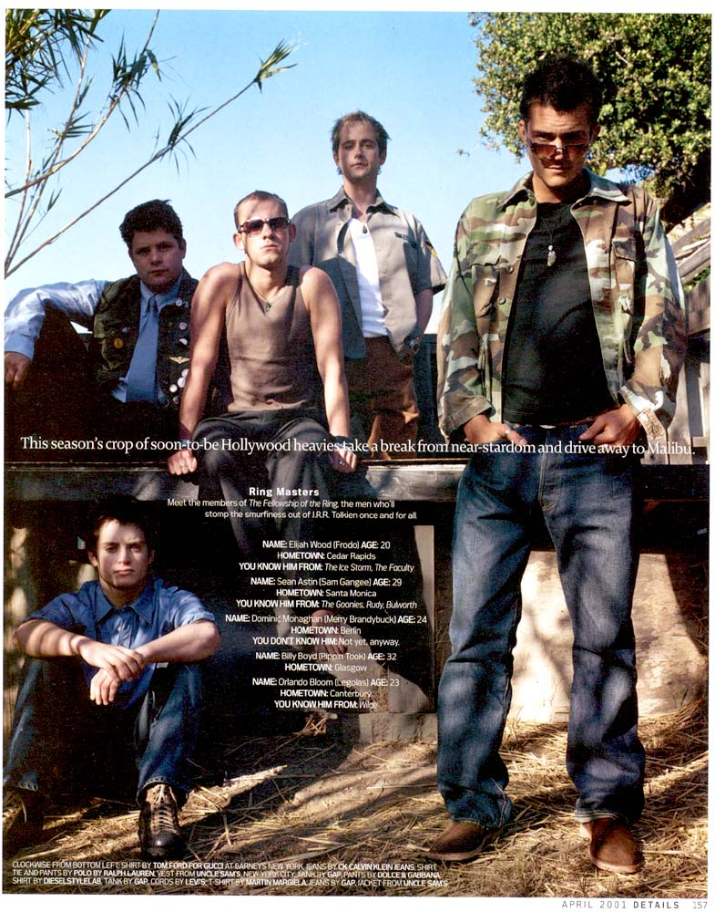 Details Magazine April 2001 - The Hobbits and Orlando Bloom
